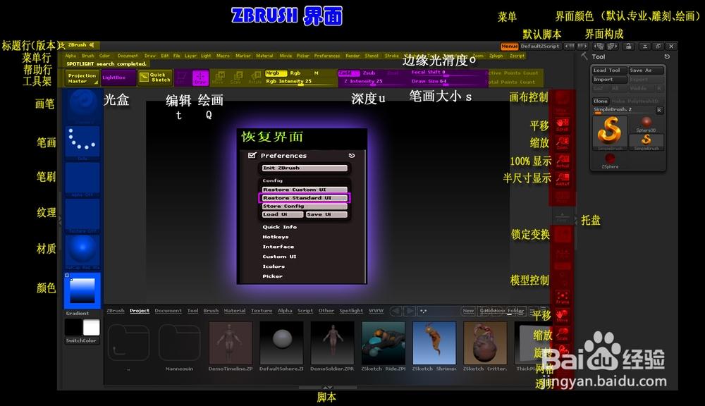 下面向大家介绍一下zbrush界面和基本操作.图片