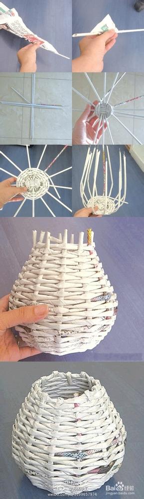 纸质 手工 diy 篮子 废物利用图片
