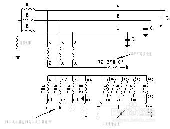 在图九中这种接线方式三相pt的三个二次辅助绕组即:1ao-1xo,2ao-2xo,3图片