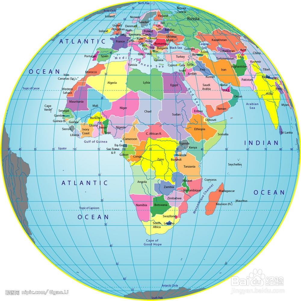 步骤: ⑴,在一只完整的乒乓球表面画上世界地图.