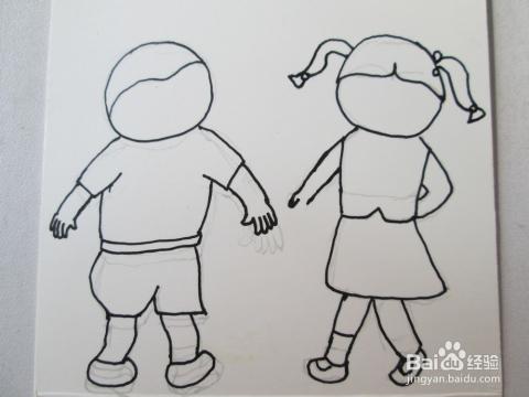 然后再右边勾画出小女孩的轮廓,右手处留白.图片