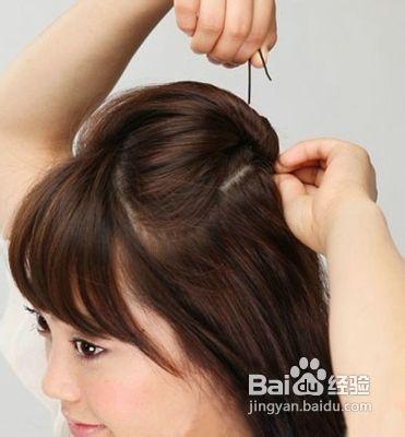 图解2款中短发发型扎法步骤图片