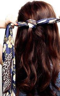 怎样用丝巾扎头发图片