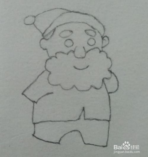 5 印象里圣诞老人是胖胖的,画大码衣服和裤子,有一只袖子放在背后,如图片
