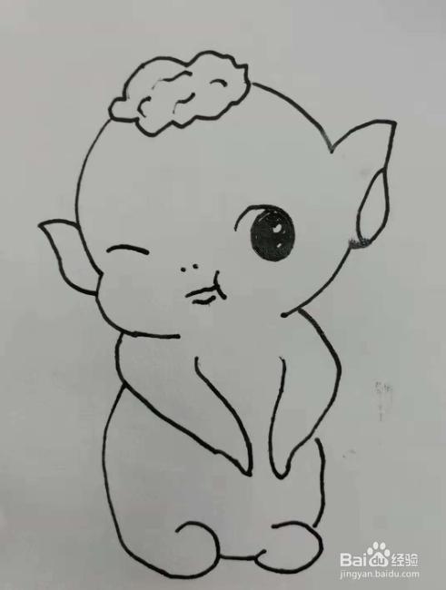 电影捉妖记里的胡巴卡通简笔画怎么画?图片