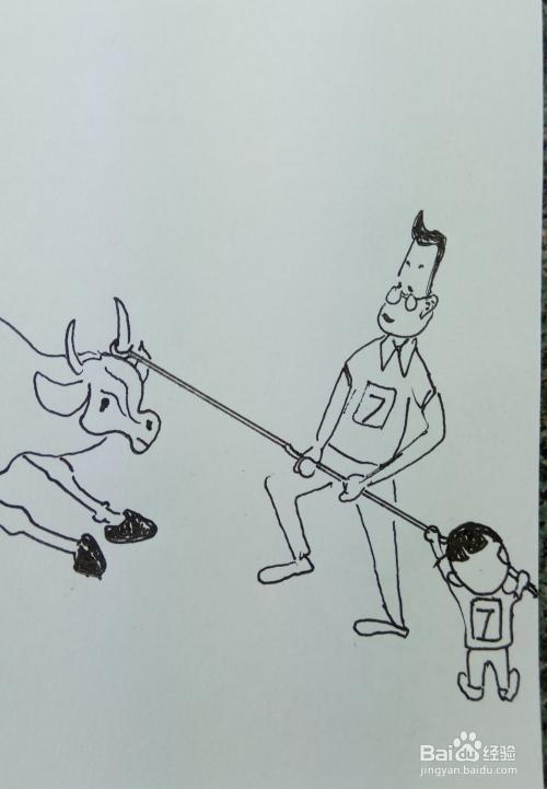 """怎样画儿童简笔画""""大头儿子和爸爸一起拉牛""""?"""