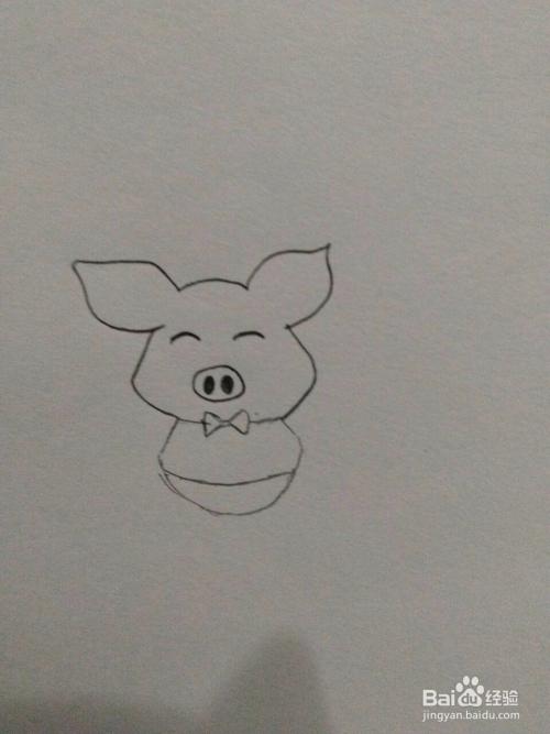 母婴/教育 育儿 > 幼儿期  1 我们先画出来一个椭圆形的小猪的头,并在图片