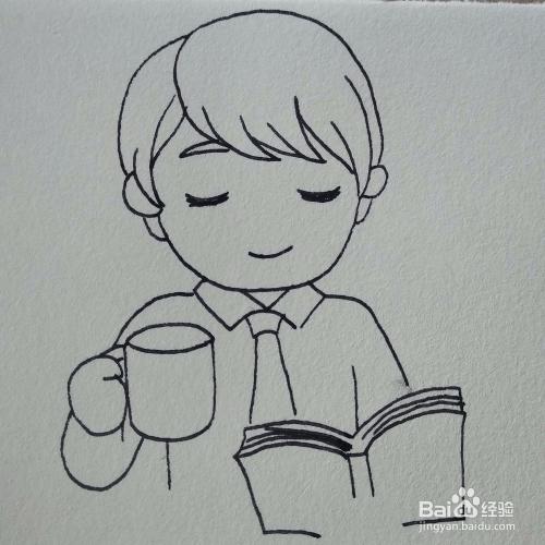 如何画一个在喝水看书的小孩简笔画?图片