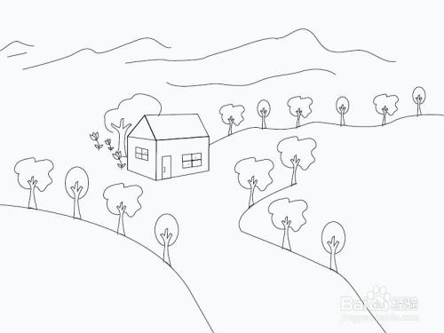 美丽的乡村简笔画怎么画