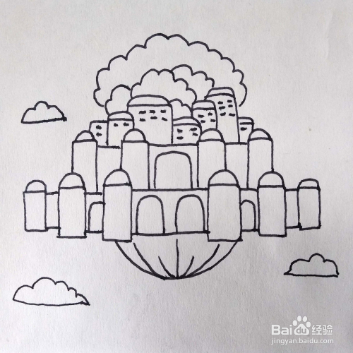 怎么画天空之城动画片中的悬浮的城市简笔画