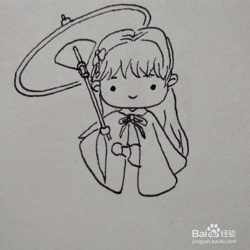 如何画出穿着汉服打着油纸伞的古装美女卡通画