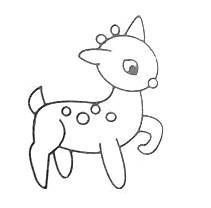 """母婴/教育 育儿 > 幼儿期  2 画""""小鹿""""第二步:在头上画两只耳朵和嘴巴图片"""