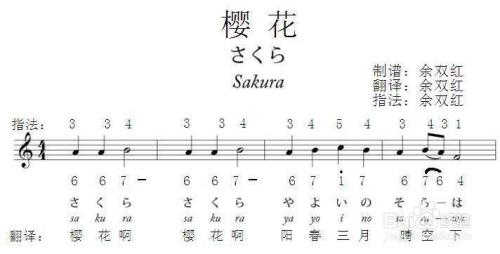 电子琴日本民歌樱花五线谱简谱指法图片