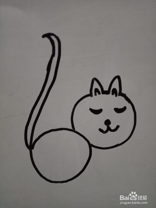 简笔画:用数字6画一只胖猫咪图片