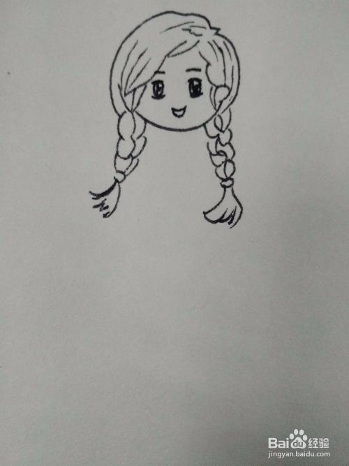 如何画穿着连衣吊带裙的小女孩简笔画?