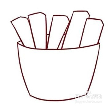 简笔画(餐饮系列):快餐薯条图片