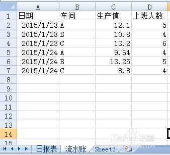 出纳日常流水账表格_我们新建一个excel表格,并将sheet1和sheet2分别命名成日报表和流水账