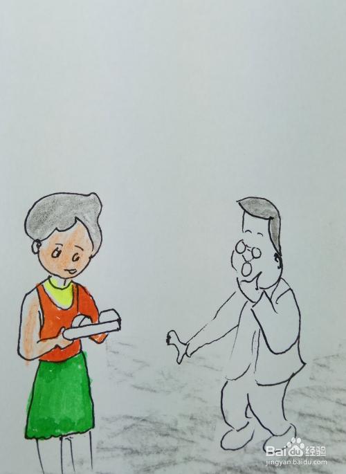 """怎样画儿童简笔画""""给小头爸爸吃东西""""?"""