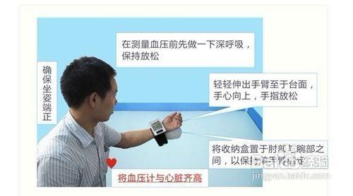 2 把血压计戴在手腕上,注意距离左手手腕纹处一个手指左右,整体坐直图片