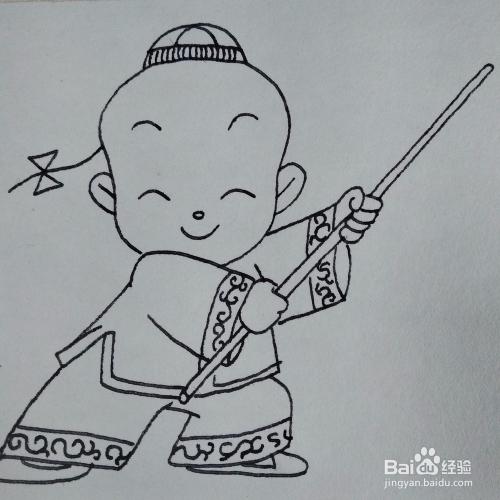 小男孩简笔画_怎么画一个在练武术的小男孩卡通儿童简笔画