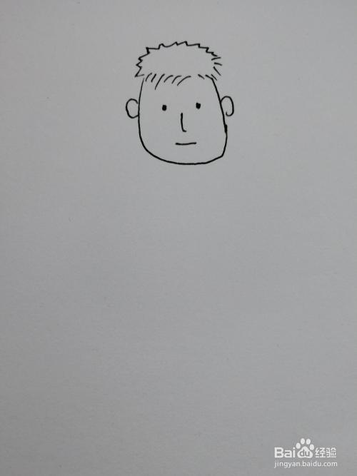 帅动漫白纸画的_> 书画/音乐  1 首先在白纸上画出爸爸的头部主体轮廓以及爸爸帅帅的