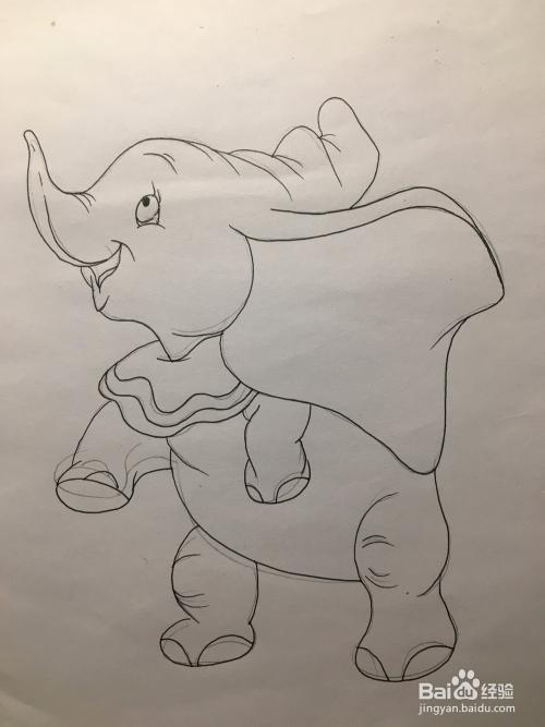 画动画片《小飞象》中的小飞象 简笔画 涂鸦画