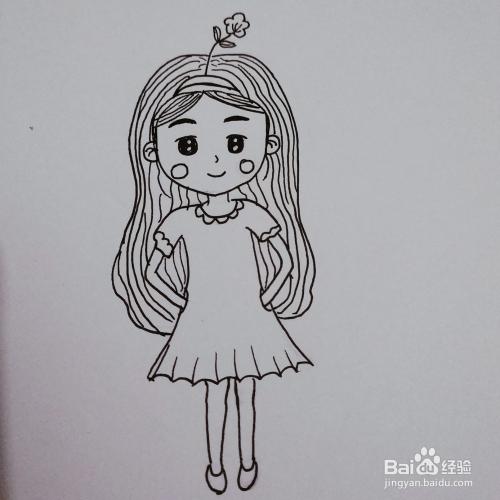 简笔画44:q版微笑女孩图片