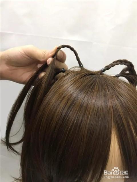 猫耳朵辫子怎么扎图片