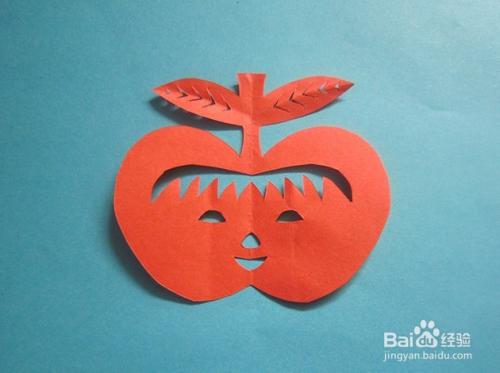 儿童趣味手工剪纸纸----笑脸苹果怎样折剪图片