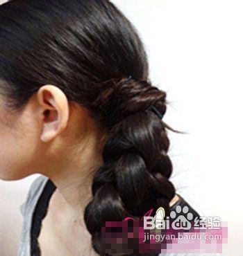 复古麻花辫扎发方法图片
