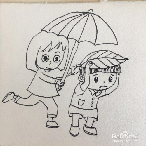 如何画出雨中的母子简笔画?