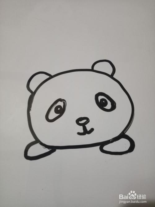 简笔画:趴着的小熊猫图片