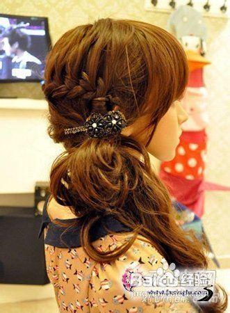 韩式侧马尾编发发型打造清新淑女范图片