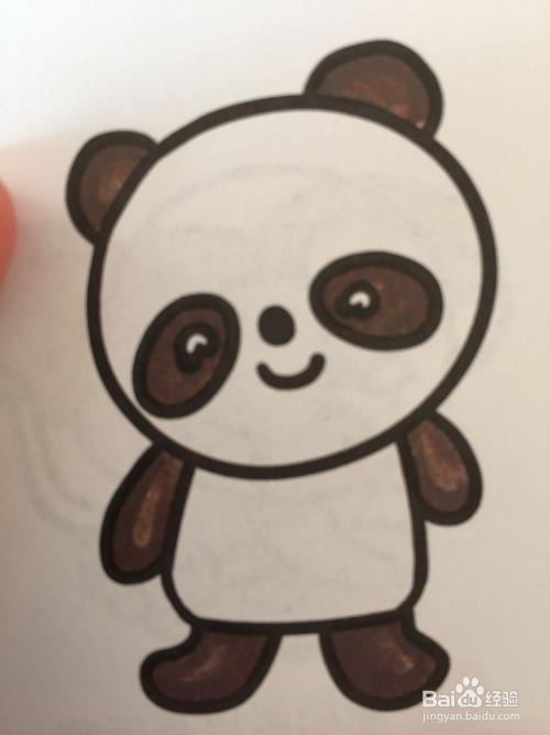 可以教给幼儿园小朋友的画画之可爱的小熊猫图片