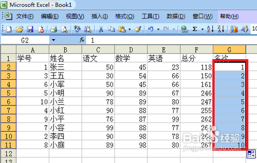 microsoft office 2003 excel中给文本排名.