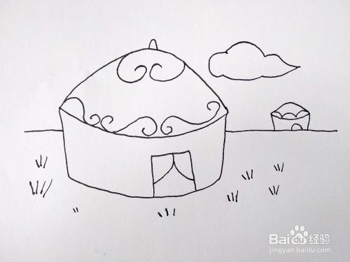 画一副好看的蒙古大卡通/蒙古包笔画简草原2018年7月3日白羊座运气图片