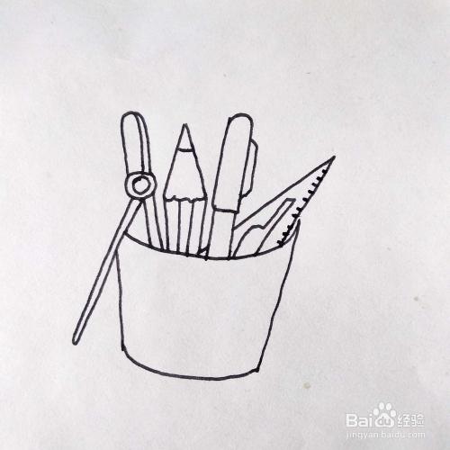 怎么画一个装满笔和工具的笔筒卡通简笔画图片