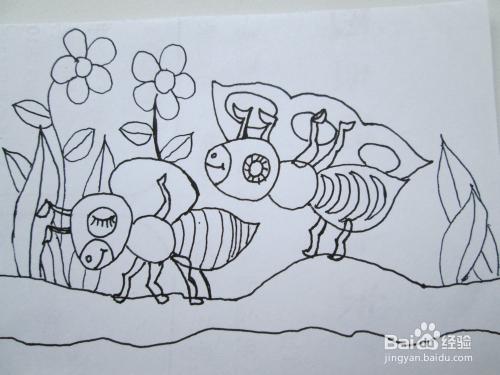 黑白线描画《蚂蚁采豆》的作画步骤图片