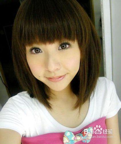 圆脸适合的中长发发型图片