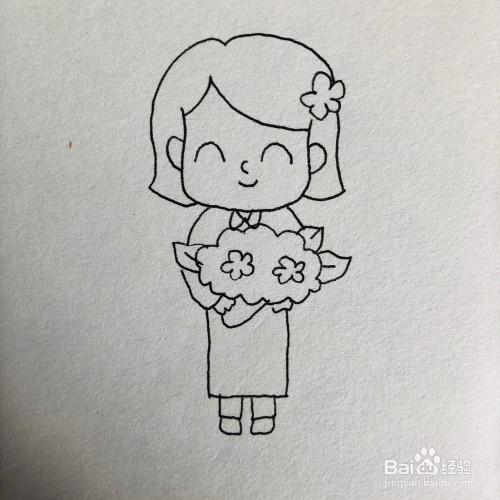 三八妇女节,女人拿花卡通简笔画绘画方法图片