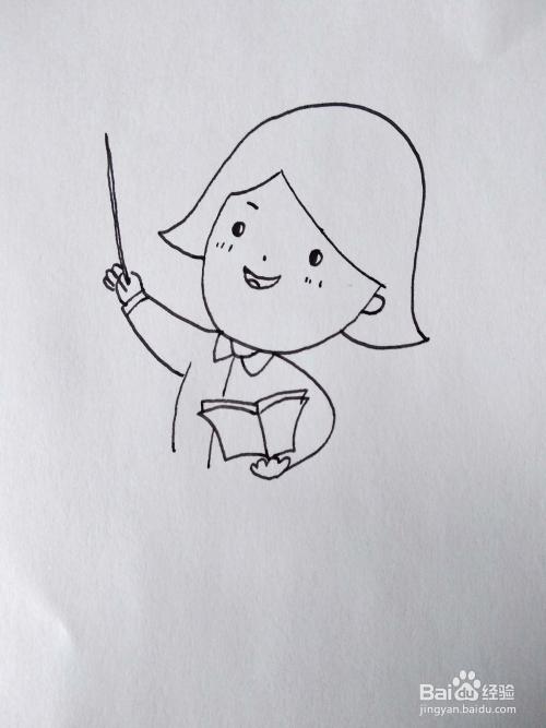 怎么画一个在教室讲台上上课的数学老师简笔画?图片