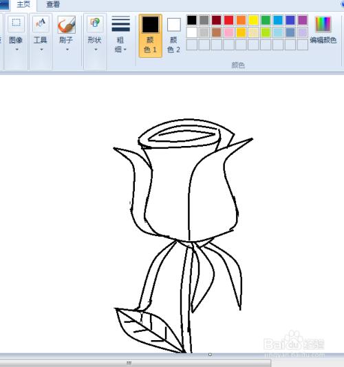 电脑画图玫瑰花简笔画教程图片