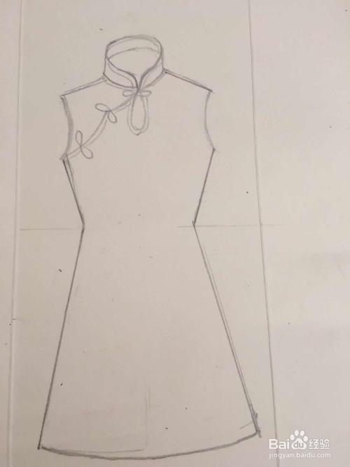 怎样画女孩无袖小旗袍图片