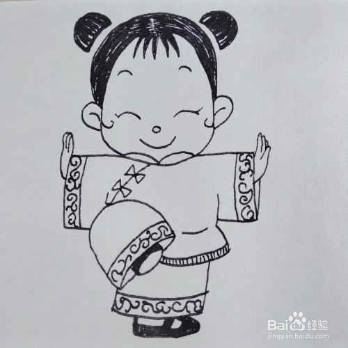 怎么画出一个在练功夫的小女孩卡通儿童简笔画图片