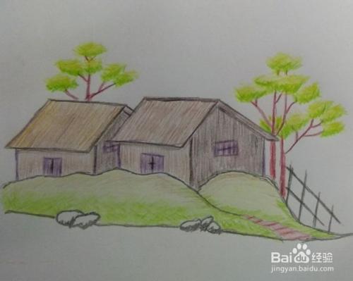 如何用彩色铅笔画乡村风景画(方法,步骤)?