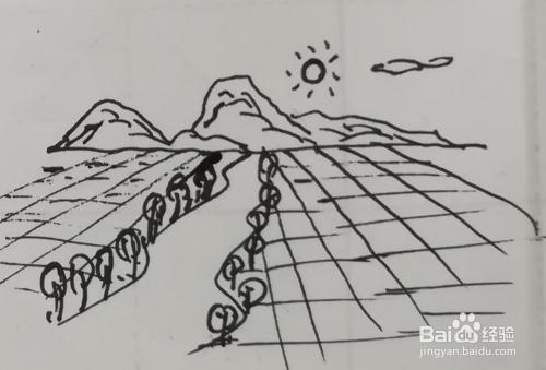 風景簡筆畫遠山,田野組合怎么畫