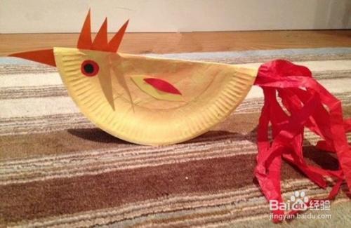 幼儿手工纸盘制作公鸡的方法步骤