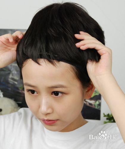 长发mm怎么戴假发图片