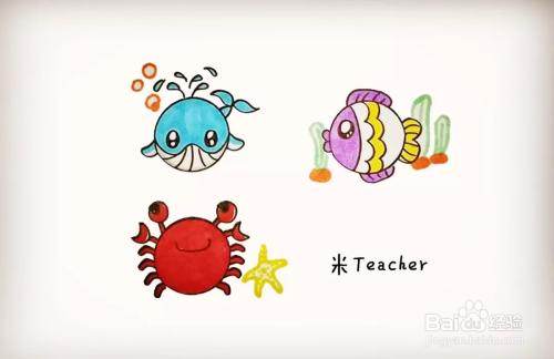 简笔画用圆形画海洋动物图片