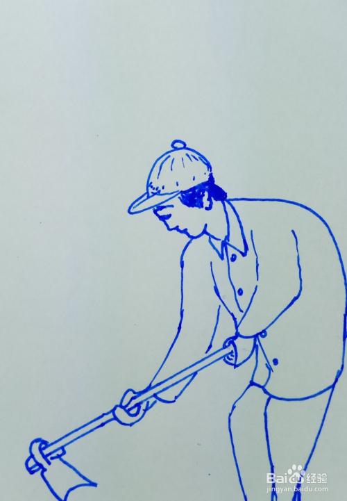 农夫锄地的简笔画_怎样画儿童简笔画农民锄地?